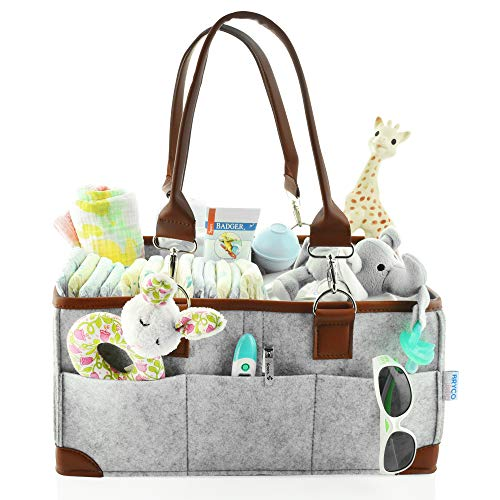 Baby Diaper Caddy Organizer - Portable Storage Basket - Essential Bag for Nursery, Changing Table and Car - Good for Storing Diapers, Bottles, Baby Wipes, Baby