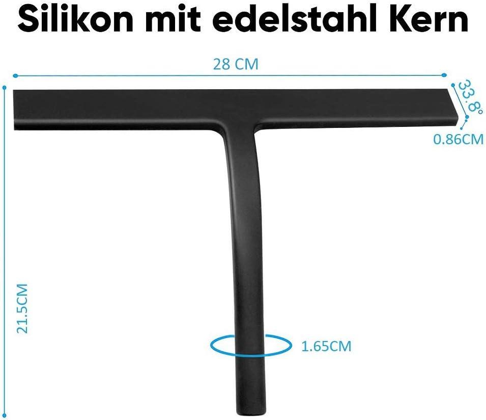 schwarz, gro/ß Glas Und Fliesen Duschabzieher Mit Saugnapf IARTISTE Duschabzieher Silikon 28 cm Fensterabzieher Allzweck-Duschkabinenabzieher Spiegel