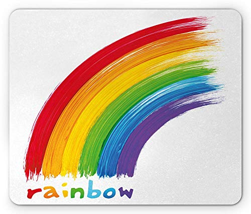 (Rainbow Mouse Pad, Acrylic Looking Paint with Rainbow Printed at Bottom Correspondig Colors to Letters, Standard Size Rectangle Non-Slip Rubber Mousepad,)