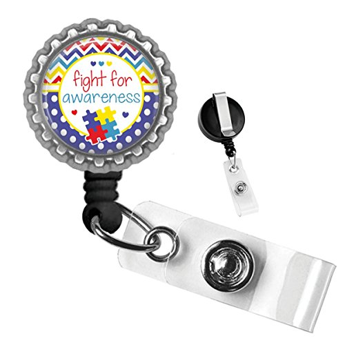 Awareness Badge - Fight for Autism Awareness Silver Retractable Badge Reel Id Tag Holder by Geek Badges