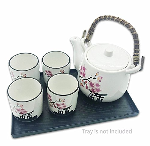 Deluxe Sakura Flower Japanese Ceramic Tetsubin Teapot & Teacups, Tea Set, Stainless Steel Infuser & bamboo Handle included (6
