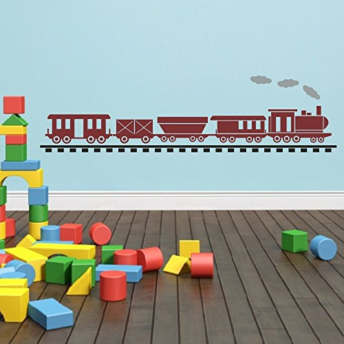 MairGwall Baby Decor Lovely Locomotive Decal Train Track Stciker Playroom Wall Graphics£¨Medium, Option A: Train-Dark Red, Rail-Black, Steam-Slate - International Priority Track Shipping