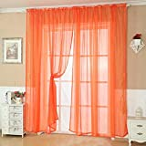 Changeshopping Solid Color Tulle Door Window Curtain Drape Panel Sheer Scarf Valance (Orange)