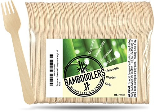 Disposable Wooden Forks by Bamboodlers | 100% All-Natural, Eco-Friendly, Biodegradable, and Compostable - Because Earth is Awesome! Pack of 100- 6.5 forks.