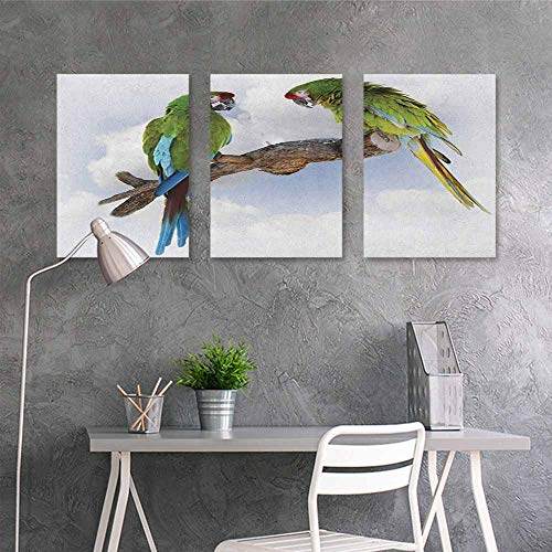 Pattern oil painting Art sticker,Parrot Two Parrot Macaw on a Branch Talking Birds Clever Creatures of the Nature,for Living Room,Dinning Room, Bedroom 3 panels,24x35inchx3pcs Green White Brown