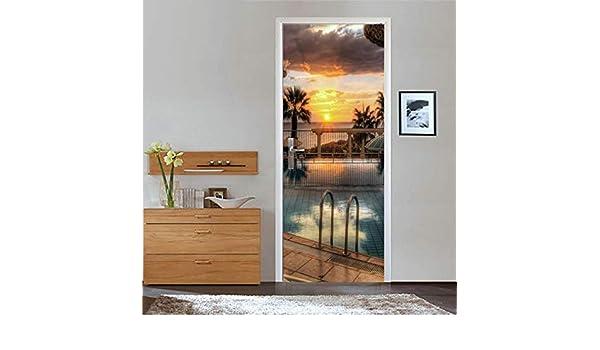 Villa Yard Sunset Pool 95X215CM 3d Pegatinas de puerta Material de PVC Tres tallas Visión estéreo Pintura decorativa casera India moda Murales: Amazon.es: Bricolaje y herramientas