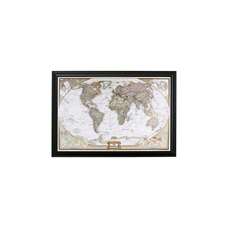 Push Pin Travel Maps Executive World with Black Frame and Pins 24 x 36