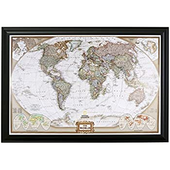 Amazon executive world push pin travel map with black frame and executive world push pin travel map with black frame and pins 24 x 36 gumiabroncs Images