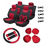 70 impala steering wheel - ECCPP Universal Car Seat Cover w/Headrest/Steering Wheel/Shoulder Pads - 100% Breathable Mesh Cloth Stretchy Durable for Most Cars Trucks Vans(Red/Black)