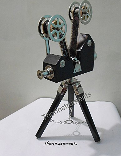 THORINSTRUMENTS (with device) Vintage Designer Wooden Camera Projector with Black Tripod Retro Look Nautical