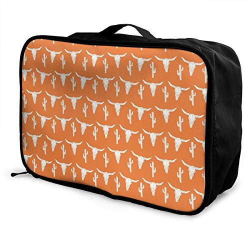(Travel Lightweight Waterproof Foldable Storage Carry Luggage Duffle Tote Bag - Longhorn Cattle Cow Texas Skull Cactus)