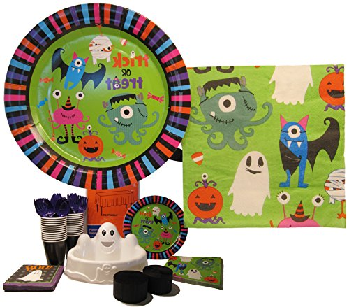 Halloween Party Plates and Napkins Bundle (126 pieces)- Trick or Treat Theme Disposable Tableware Set (Serves 16) Pack includes Plates, Napkins, Cups, Cutlery, Table Cover, Streamers, Ghost Candy Dish