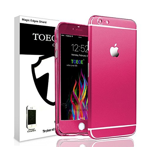 Toeoe 6/6s (4.7) High-strength and Super-thin Tough Metallic Film Sticker Full Body Protector Skin + Ultra Clear Front Screen Protector for iPhone 6/6s (Rose)