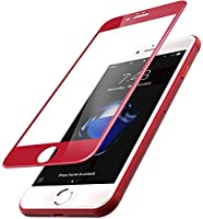TOZO for iPhone 7 Plus 3D Screen Protector Glass [ 3D Full Frame ] Technology Premium Tempered 9H Hardness 2.5D PET [Soft Edge Hybrid] Perfect Fit Screen 5.5 Red from TOZO