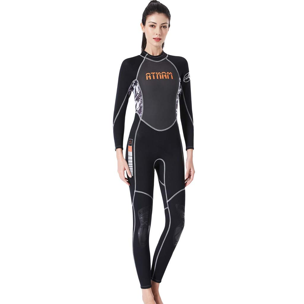 WoCoo Wetsuit Women Full Diving Suits Back Zip UV Protection Girls Swimsuit Surfing Jumpsuit Scuba Diving Snorkeling(Black,Small) by WoCoo