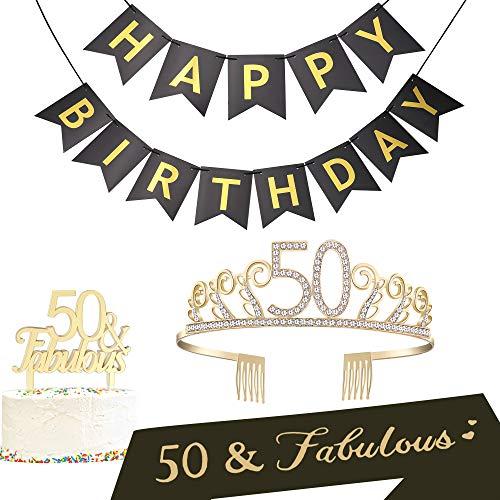 BABEYOND 50th Birthday Tiara and Sash 50th Cake Topper Happy Birthday Banner Satin 50 & Fabulous Sash 50th Birthday Party Supplies Rhinestone 50th Princess Crown (Set-2)