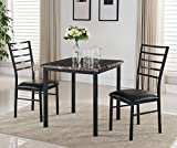Kings Brand Furniture 3 Piece Black Metal Square Dining Kitchen Dinette Set, Table & 2 Chairs