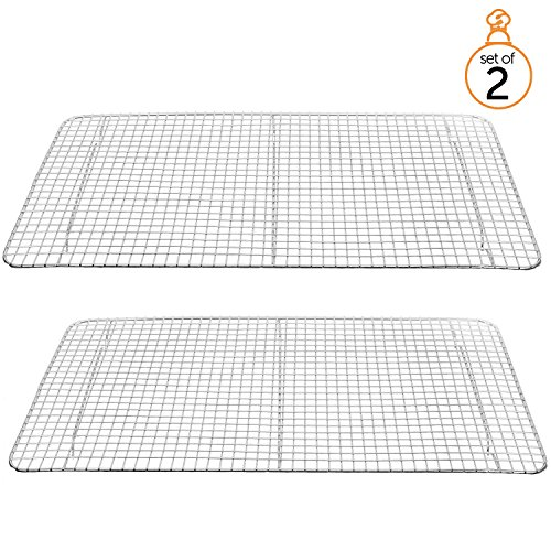 "Cooling Racks for Baking-Draining Pan Grate-Cross Wire Chrome Plated-Full Size, 10"" x 18""-Oven Safe for Cooking, Roasting, Grilling-Perfect to Cool & Bake-Set of 2"