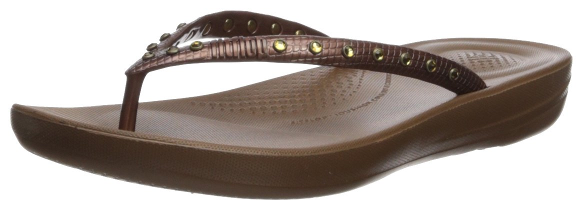 FitFlop Damen Iqushion Ergonomic Flip-Flops Peeptoe Sandalen, Gold  38 EU|Bronze