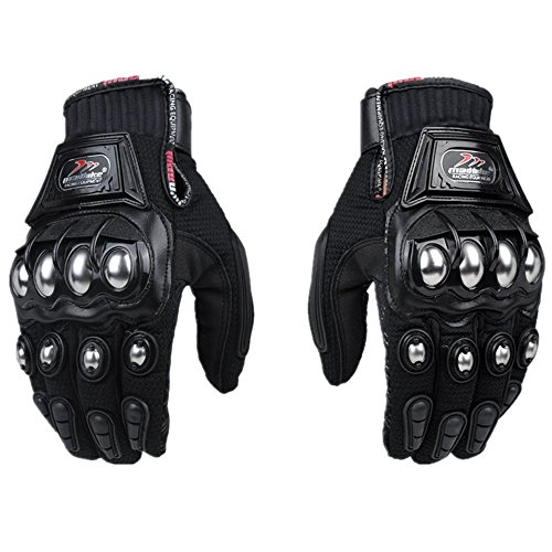 oubaiya Steel Outdoor Reinforced Brass Knuckle Motorcycle Motorbike Powersports Racing Textile Safety Gloves (Black, Large)