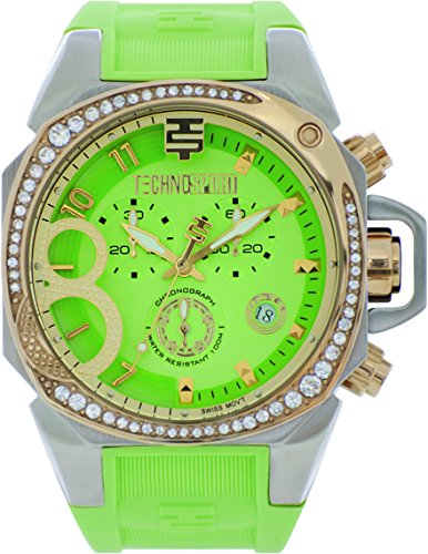 Technosport TS-103-5 Women's Swiss Light Green Chronograph Watch Crystal Accented Gold-Tone Bezel Silicone Strap