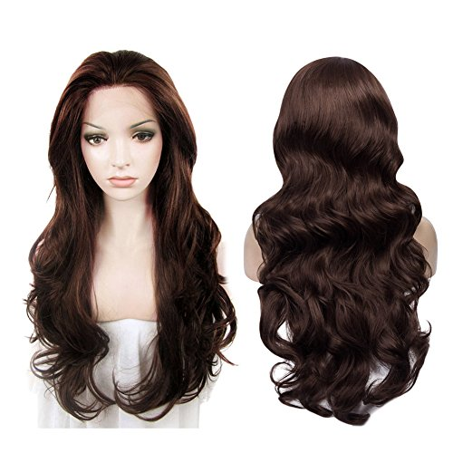 IMSTYLE Lace Front Wigs Natural Brown Wigs For Women Synthetic Long Wave Heat Resistant Synthetic Hair Costume Wigs 26inch by IMSTYLE (Image #2)