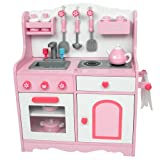 "18 Inch Doll Kitchen & Accessories, Perfect for American Girl Dolls Furniture & Larger, Sized for a Child to Play with 18"" Dolls, Pink Kitchen"