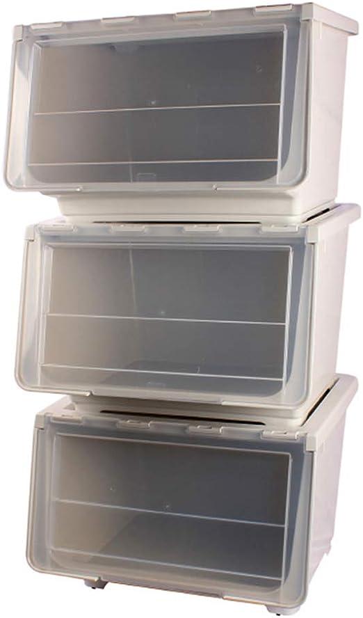 BNHXT 3Pcs Caja De Almacenamiento Plastico con Tapa Y Ruedas,Apilable Gran Cubo Organizador,para Libros,Ropa O Juguetes,Gray: Amazon.es: Hogar