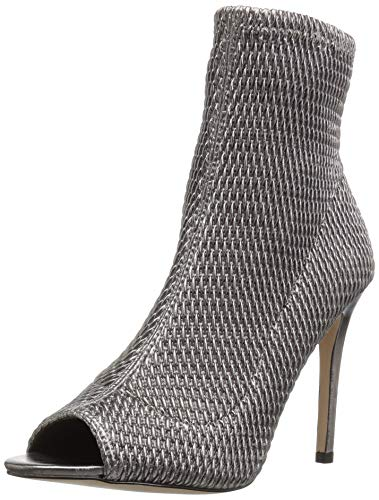 Womens Pumps Quilted - BCBGeneration Women's Jane Peep Toe Ankle Boot, Gunmetal Quilted Leather, 9 M US