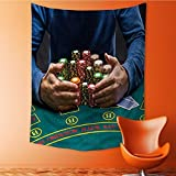 Vanfan Wall Tapestry Home Decor poker player taking poker chips after winning Tapestries for dorms 40W x 60L Inch