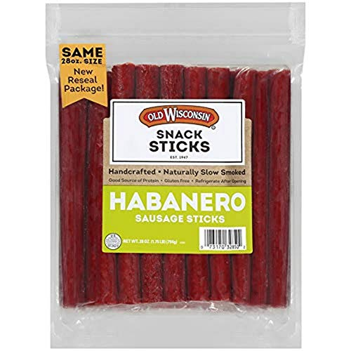 Old Wisconsin Habanero Sausage Snack Sticks, Naturally Smoked, Ready to Eat, High Protein, Low Carb, Keto, Gluten Free, 28 oz Resealable Package