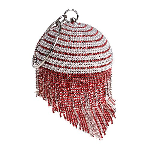 Spherical Diamante Ladies Party Bag Red Purse Prom Clutch Glitter Handbag For Bag Women TasselShoulder Evening Clubs Bridal Gift Beaded Wedding Tv4BAwcq6