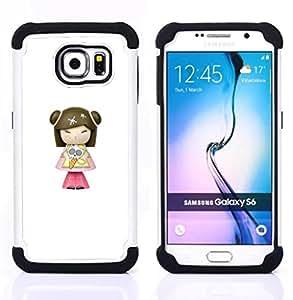 """Samsung Galaxy S6 / SM-G920 - 3 en 1 impreso colorido de Altas Prestaciones PC Funda chaqueta Negro cubierta gel silicona suave (Modelo de Caracteres historieta del Anime"""")"""