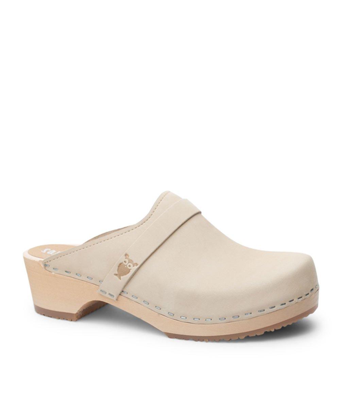 Sandgrens Swedish Low Heel Wooden Clog Mules For Women   Tokyo In Sand, Size US 6 EU 36