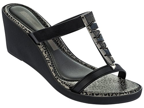 Sandales Grendha Jewel Plat Noir et Argent Noir
