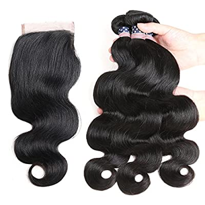 "Vshow Hair 16 18 20 with 14"" Closure 7A Brazilian Virgin Hair Body Wave 100% Unprocessed Brazilian Hair Bundle with Closure FreePart 4""X4"" Lace Closure Human Hair Weave"