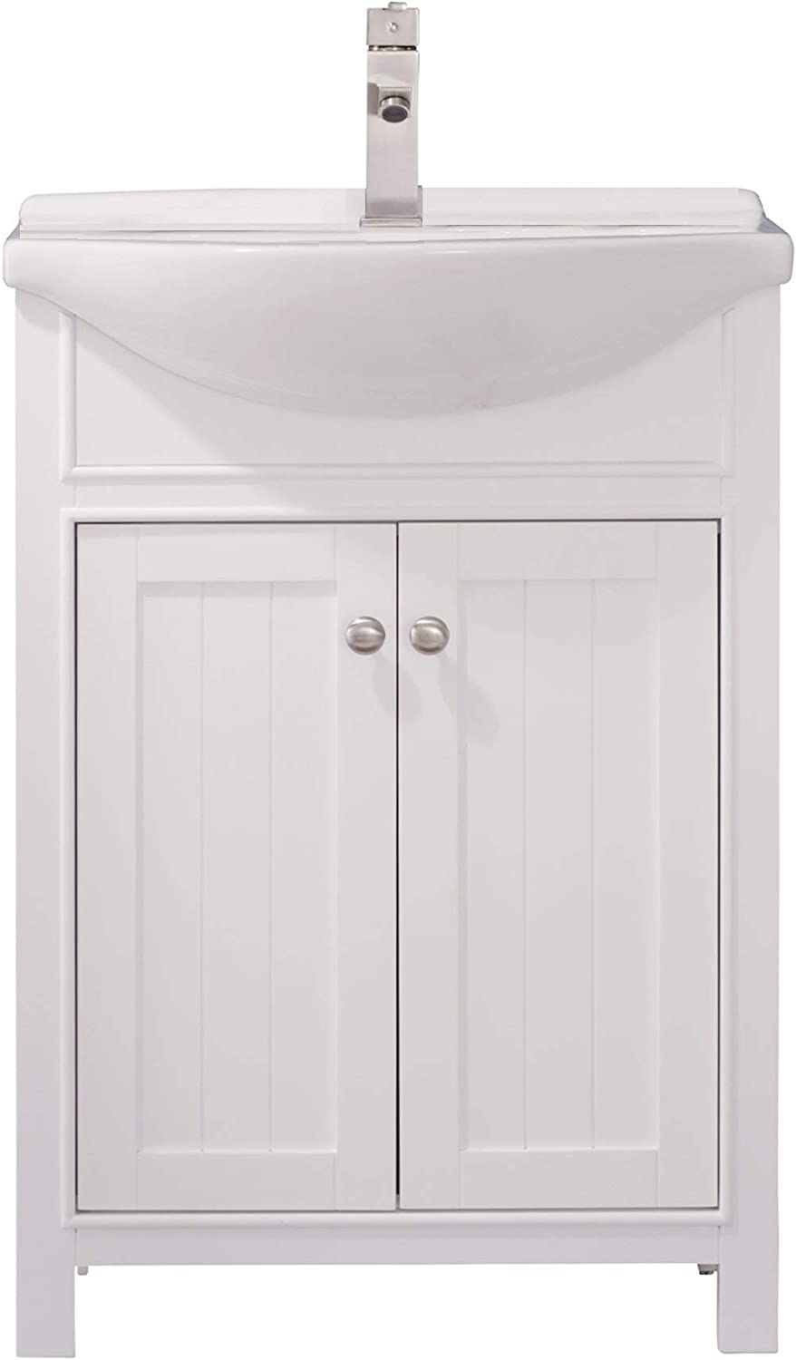 "Luca Kitchen & Bath LC24HWP Carson 24"" Bathroom Vanity Set in White Made with Hardwood and Integrated Porcelain Top"