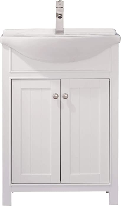 """Luca Kitchen & Bath LC24HWP Carson 24"""" Bathroom Vanity Set in White Made with Hardwood and Integrated Porcelain Top"""