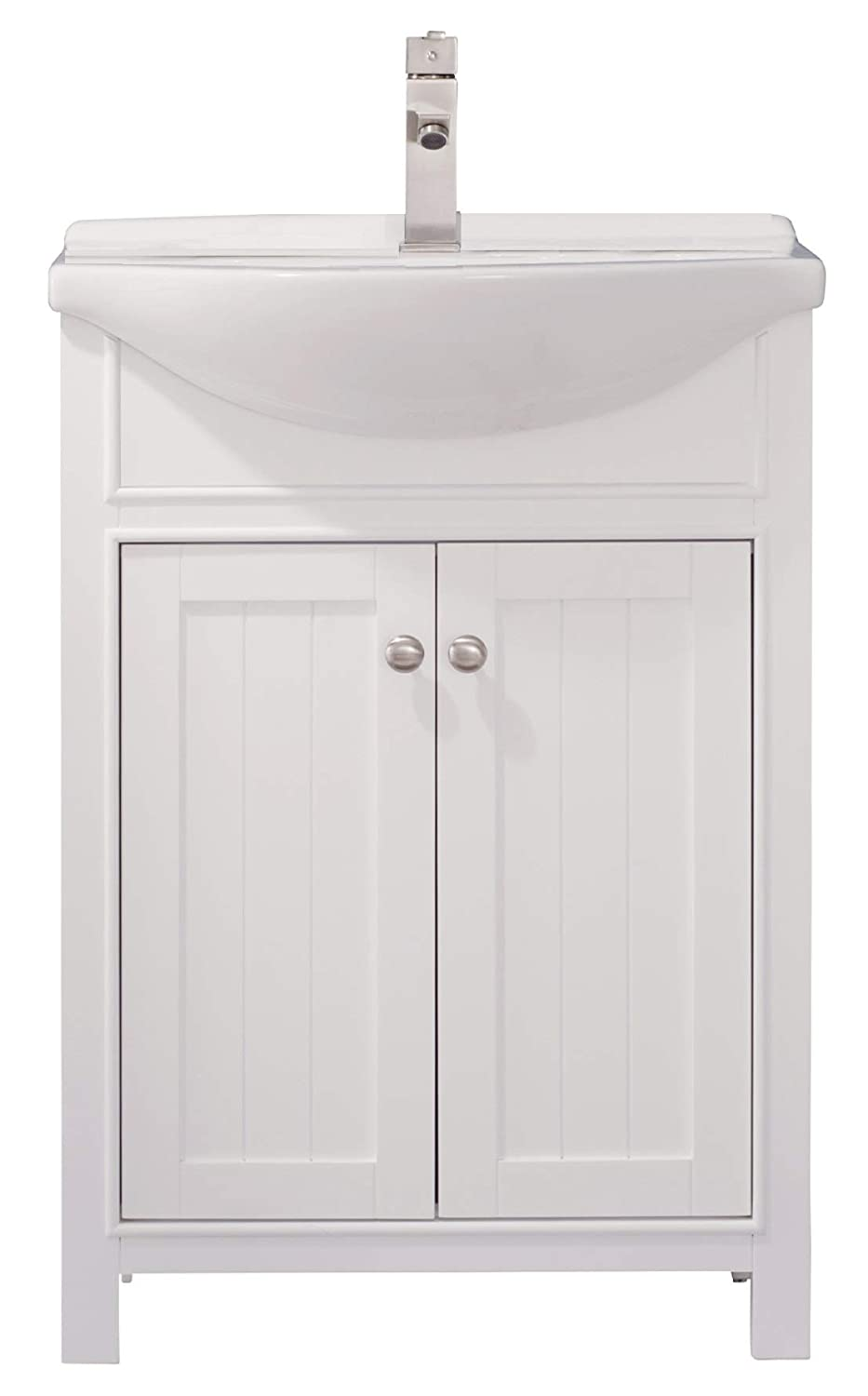 Luca Kitchen Bath LC24HWP Carson 24 Bathroom Vanity Set in White Made with Hardwood and Integrated Porcelain Top