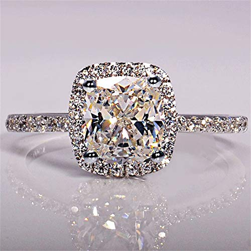 WoCoo Jewelr,Sparkling Bridal Wedding Fashion Engagement White Gold Color Rings for Women(Silver,5)