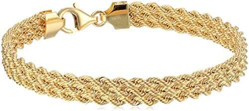 14k Yellow Gold Rope Bracelet, 7.5