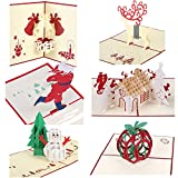 Christmas Cards 3D Pop Up Handmade Holiday Greeting Cards - 6 Cards & Envelopes