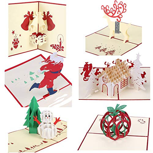 Christmas Cards 3D Pop Up Handmade Holiday Greeting Cards - 6 Cards & -