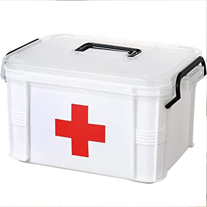 Yunhigh-uk First Aid Kit Box Lockable Medicine Storage Box