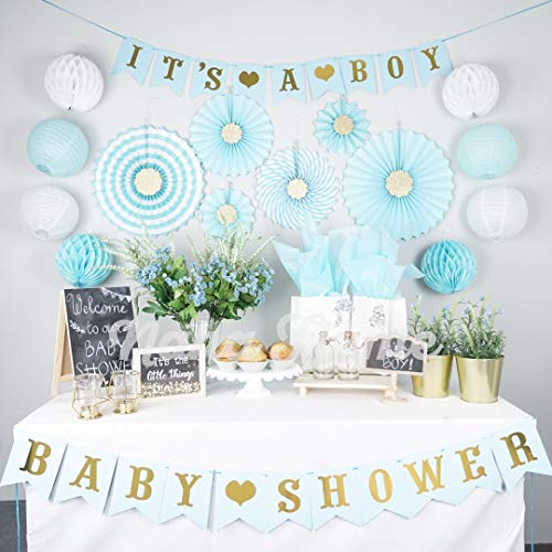 Boy Baby Shower Decorations for Boy | Its a Boy Baby Shower Party Supplies | 35pc Blue and Gold Baby Boy Shower Decorations | Baby Shower Boy | Baby Shower Decor | Elephant]()