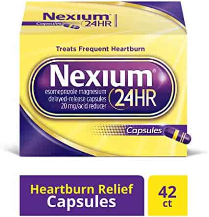 Nexium 24HR (42 Count, Capsules) All-Day, All-Night Protection from Frequent Heartburn Medicine with Esomeprazole Magnesium 20mg Acid Reducer