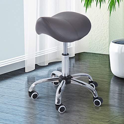 Gray Hydraulic Salon Stool Adjustable Swivel Rolling Saddle Chair Massage SPA