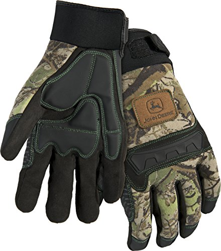 West Chester John Deere JD00011 Anti-Vibration High Dexterity Synthetic Leather Palm Knuckle Work Gloves: Camo, Large, 1 Pair ()