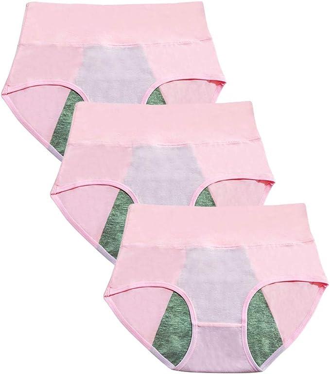 Yudesun 3 Piezas Respirable Bragas Pantalones Fisiológicos Mujer Algodón Braguitas Suave Cintura Alta Menstrual Calzoncillos Ropa Interior Color Sólido Rosa Tamaños L: Amazon.es: Ropa y accesorios