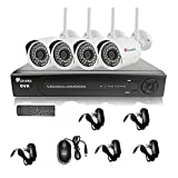 Ctronics 8CH 1080P NVR System Home Surveilliance Security System With 4 Outdoor/Indoor WIFI IR 720P IP Cameras...